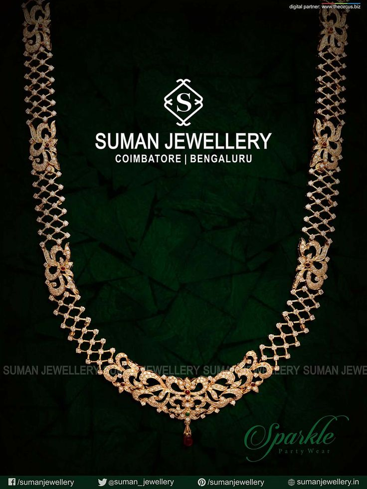 Sparkle the #evening with this #exquiste collection of party wears from Suman jewellery. #party #wearnecklace #diamond #gold #design