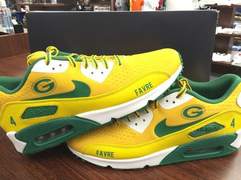 CUSTOM GREEN BAY PACKERS AirMax 90's Team Colors for $229+tax!! Contact us at 903-874-2000 or 888-204-8767 M-Sat from 9am CST-5pm CST Order online at www.yourcustomkicks.com