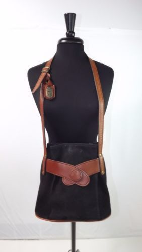 beautiful Vintage Polo HUT womens sporty Black Tan Leather Handbag Purse