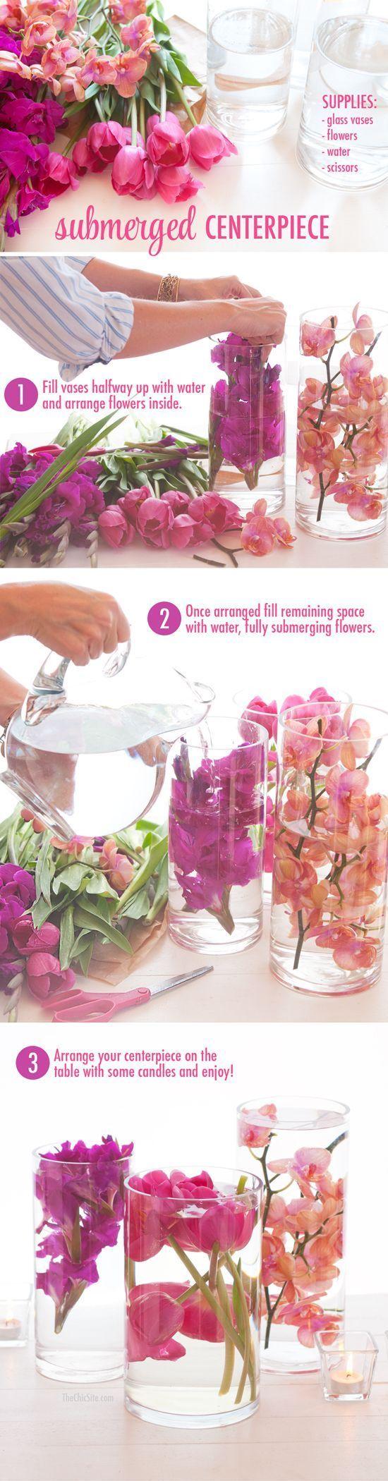 Diy Submerged Flower Wedding Centerpiece / http://www.himisspuff.com/diy-wedding-centerpieces-on-a-budget/29/