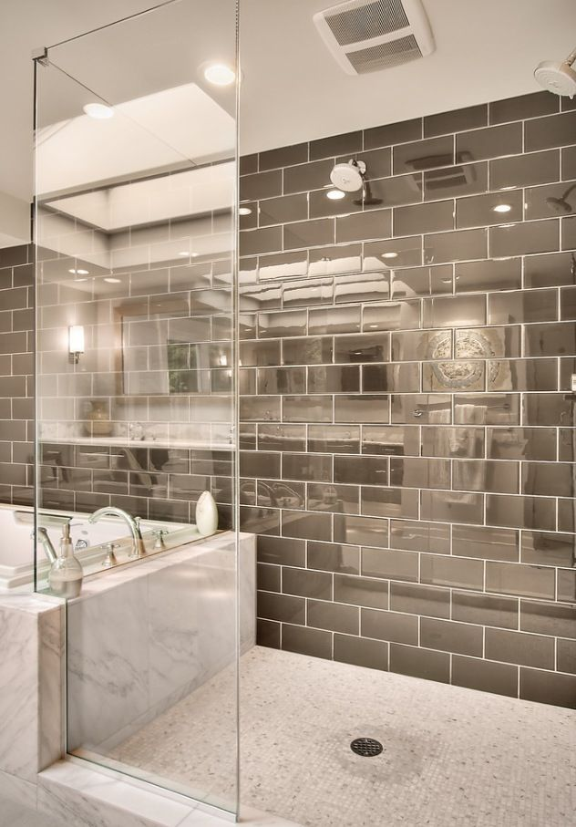 Silver Subway Tile And Shower. Great For Reflecting Light In Our Windowless  Bathroom. Great Marble Tub Deck And Bathroom Design. I Wonder How Difficult  It ...
