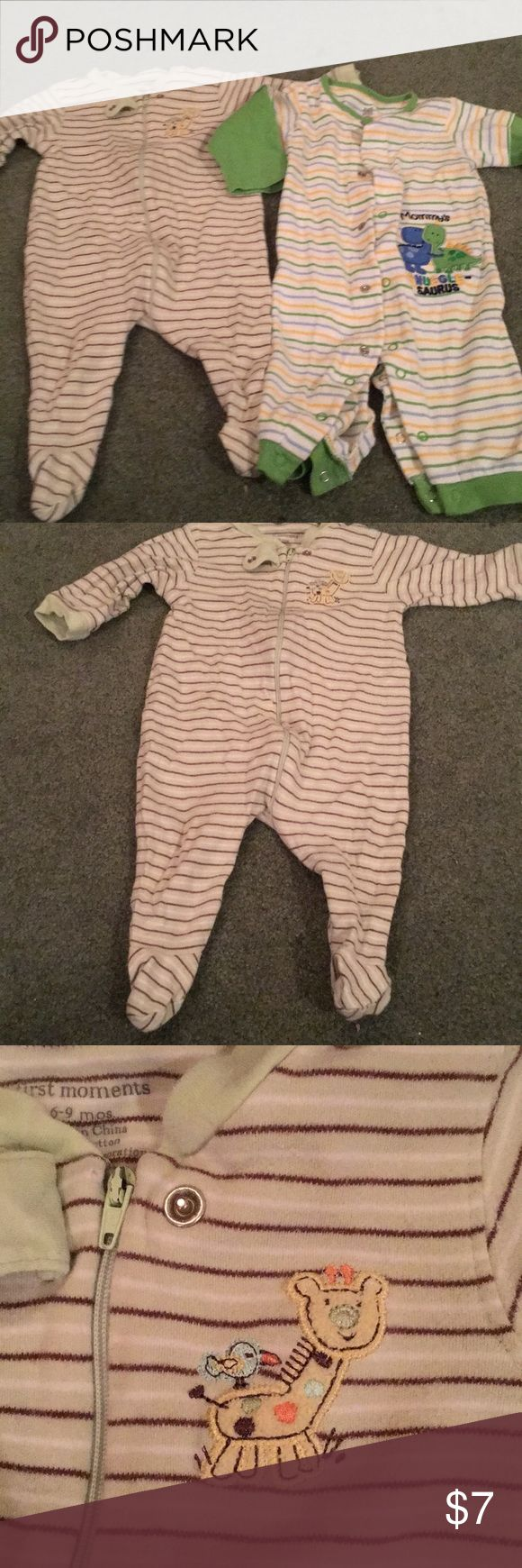 Two pairs of pajamas First pair is a zip up size 6-9 months and second set is snaps with exposed feet in size 6 months. Gender neutral colors. Both in excellent used condition from smoke free home. No stains, tears or holes. Pajamas Pajama Sets