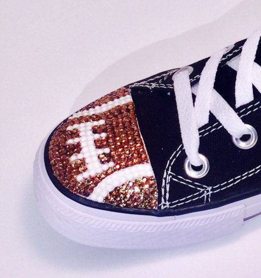 Football Blinged Converse Low Top Shoes. Women's Custom Shoes. Football Players, Football Fans, Football Moms.  Gift for Mom, Gift for Her by TrickedKicks on Etsy