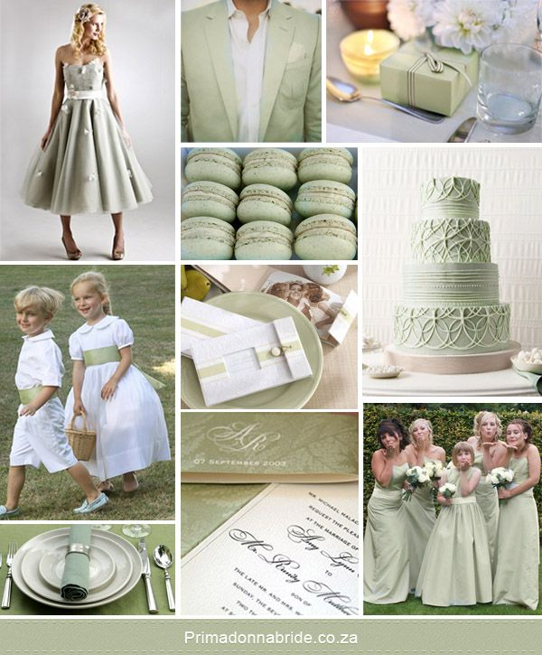 Sage green ideas...sticking with just sage green, silver, and white (even with the flowers) would be very elegant