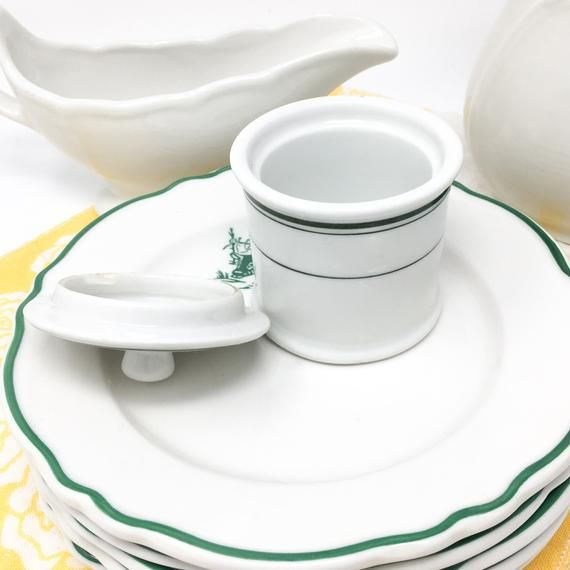 Vintage Buffalo China Condiment Jar With Lid Mustard Pot White With Green Lines Gift The Cook Classic Restaurant Ware Bu Restaurant Dishes Jar Restaurant