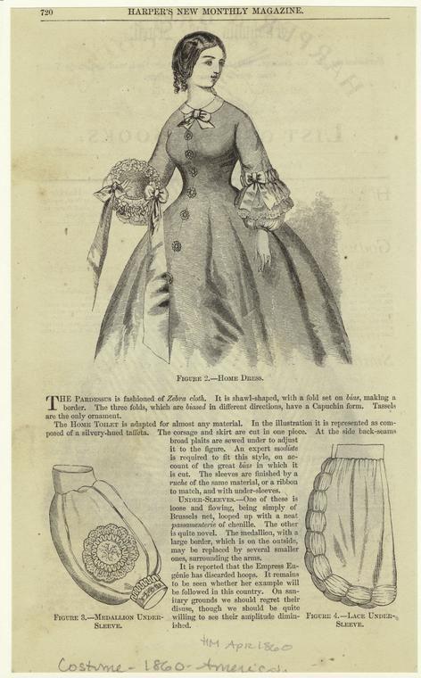 Home dress & undersleeve detail. Harpers Magazine, April 1860. NYPL Digital Gallery.