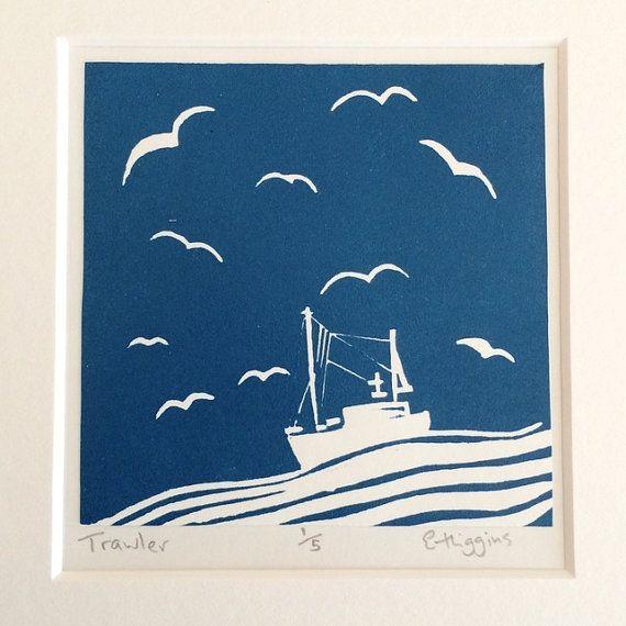 Trawler Linocut