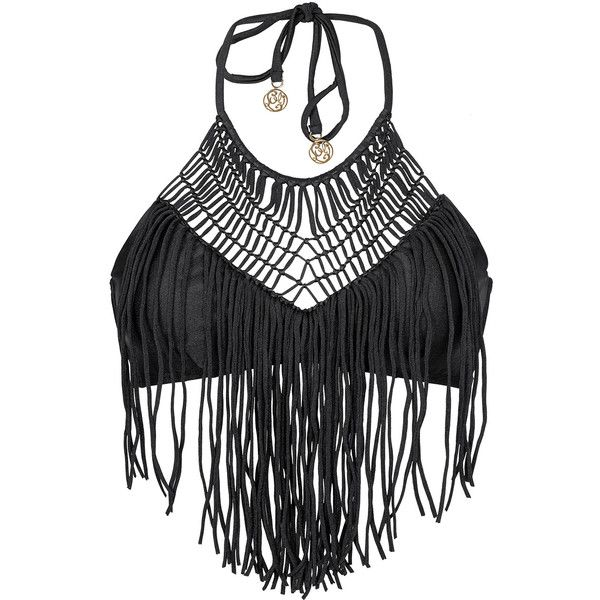 Luli Fama Black Crop-top Swimsuit Top With Macramé And Fringe Detail -... ($97) ❤ liked on Polyvore featuring tops, swimwear, black, crop top, hippie crop top, hippy tops, fringe top, spandex tops and fringe crop top