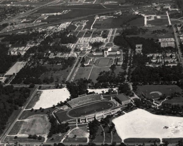 Aerial view of University of Houston including Robertson Stadium - 1950. In 1936, the University of Houston acquired nearly 110 acres for a permanent campus from donations from Ben Taub and the Settegast estate. The school began holding classes on the new campus, located east of downtown, in 1939. Today, the University of Houston main campus has extended to 550 acres bordered by Wheeler, Elgin, and Scott streets. Special Collections, University of Houston Libraries (Public Domain).