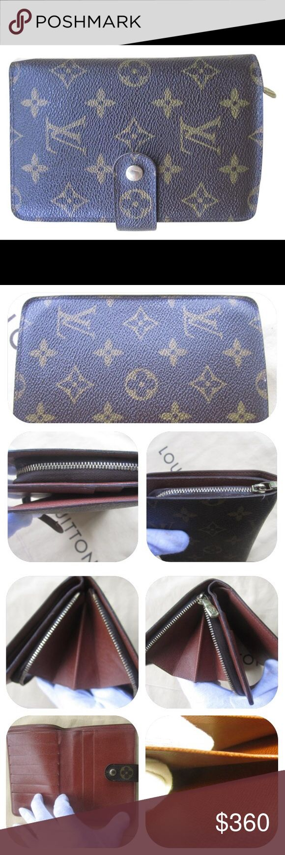 """Authentic Louis Vuitton Porte Papier Wallet Preowned. Good condition. Edges and corners look good. Exterior canvas is in good condition. Interior is nice and clean. Slight peeling in bill compartment from normal use, please see photos. Please view all photos carefully, as they are an essential part of the description. Date code: SP0070. Dimensions: 6.1"""" length, 1"""" depth, 4.3"""" height. Snap closure, zipper coin pouch, large bill pocket, 2 slip pockets, 5 card slots. Lots of room inside, very…"""