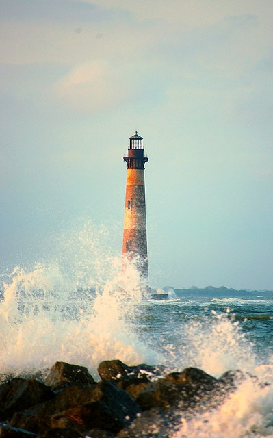Morris Island Lighthouse Morris Island entrance to Charleston Harbor South Carolina US 32.695278, -79.883611