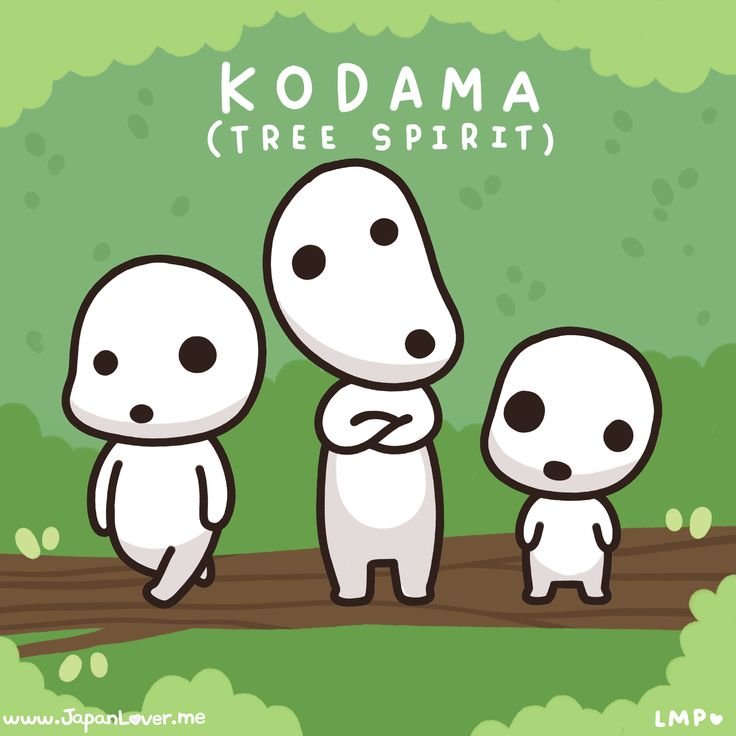 """In Japanese folklore, they are called """"Kodama"""", or tree spirits. They inhabit trees and are sometimes called """"protectors of the forest"""", because it is said that they curse anyone who destroys the tree that they are living in.  Art by Little Miss Paintbrush ♥"""