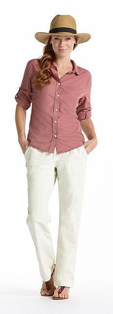 Coolibar sun travel shirt, sun pants and straw sun hat all upf50+