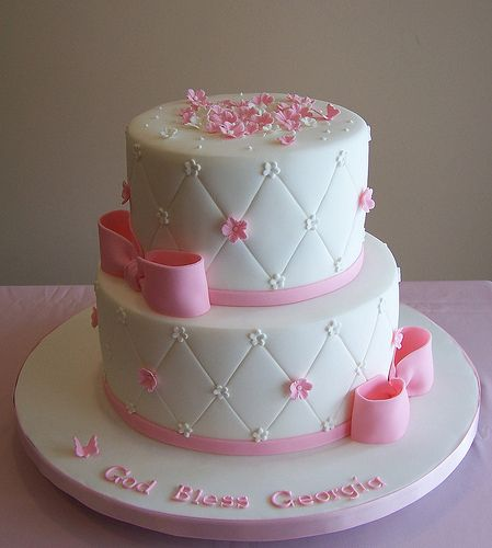 Dedication Cake - 3 Tier Square Cake with Pink and Grey