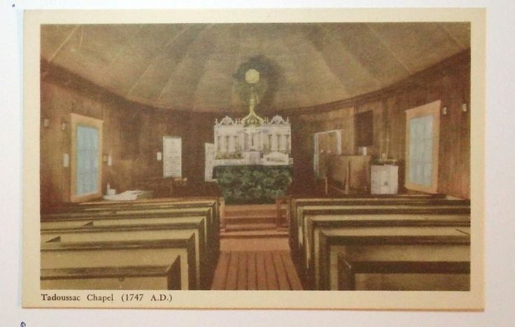 Photogelatine Engraving Postcard Tadoussac Chapel 1747 A D Postmarked not used Condition Very