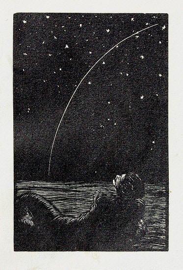 "František Kobliha, ""Padající hvezda"", woodcut, 1925. | Null Entropy"