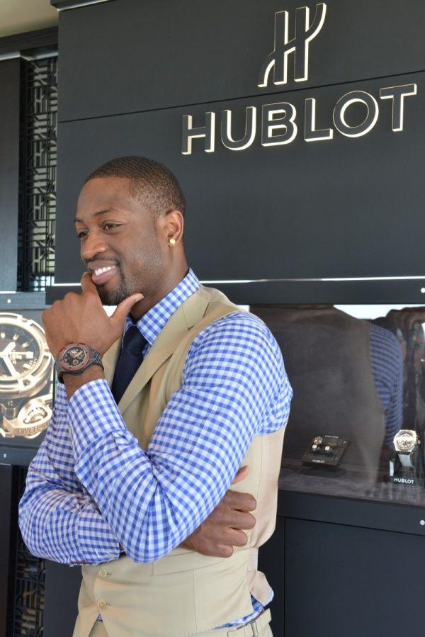 Dwyane Wade wearing his signature Hublot King Power wristwatch