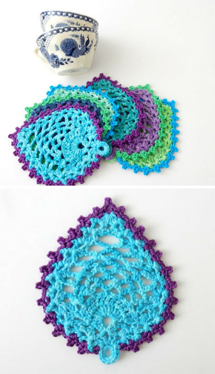 942 best crochet for the home corona images on pinterest filet free crochet pattern peacock style pineapple coasters bankloansurffo Images