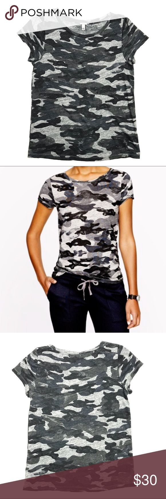 J Crew Gray Camo Tee Shirt Cotton Modal J Crew Gray Camo Tee Shirt Womens L Cotton Modal Cap Sleeve 06545 Slim Fit   Condition: Pre-owned Gently Worn No Stains No Holes  Measurements taken while garment was laying flat: These measurements were personally taken and are approximate:  Underarm to Underarm Seam inches- 20 Length from shoulder seam to hem inches- 26 Length across Bottom inches- 21 Bottom of Sleeve Length inches- 1 J. Crew Tops