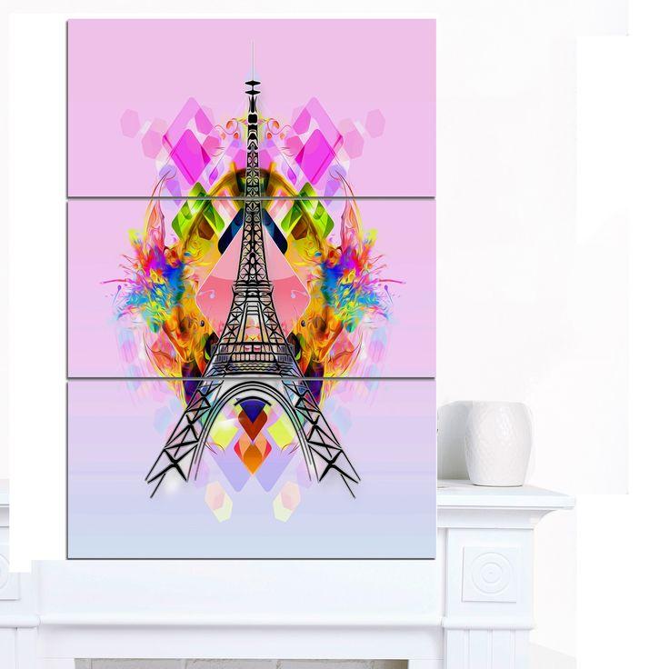 Designart 'Bright Eiffel Tower Cartoon' Oversized Abstract Canvas Art