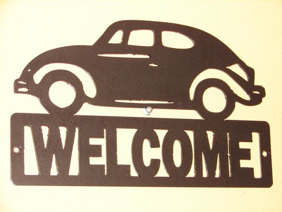 Vintage VW Volkswagen Metal WELCOME Plaque Beetle Bug by artbyjack, $24.99- Copper