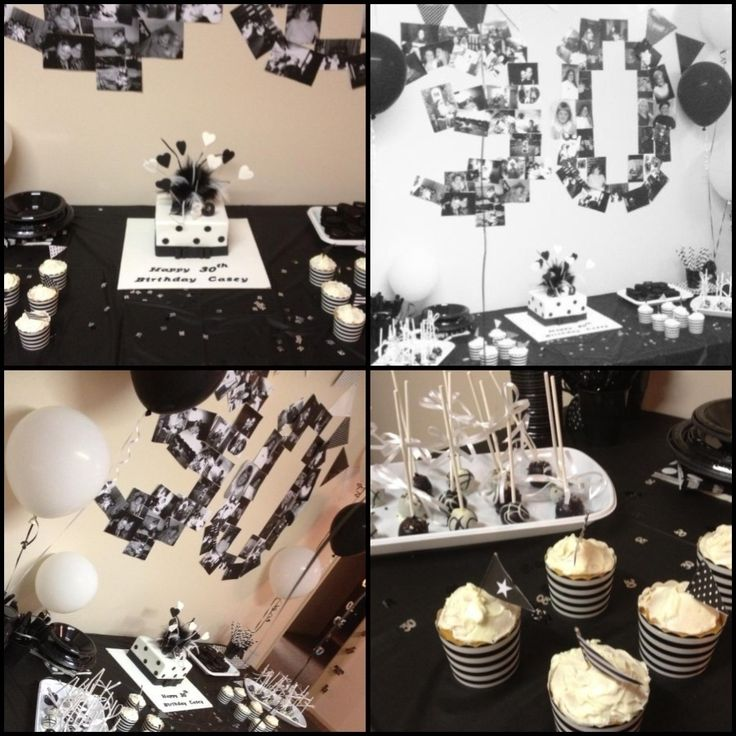 Black white 30th birthday party time pinterest for 30th birthday party decoration ideas for men