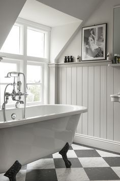 Colours - wood panelling although our bathroom will be grey walls (as they are) and white panelling | Bathroom ☆ Sauna 2 | Pinterest