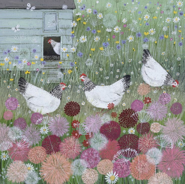 'Chickens in a Summer Garden' by Lucy Grossmith