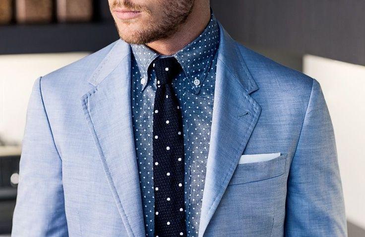 dots on dots. chambray.  #men // #fashion // #mensfashion