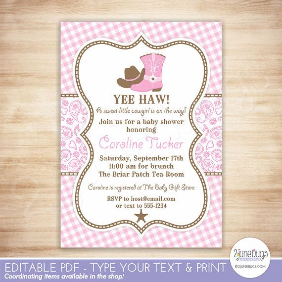 Instant Download, DIY Editable Printable Invitation (5 x 7) in our pink paisley & gingham Cowgirl Baby Shower theme! Simply open the file in Adobe Reader and type your own personal text in place of the sample text included in the template. [INCLUDED IN THIS LISTING] - a high-resolution, editable 5 x 7 invitation template in PDF format. Layout is 2-per-page on an 8.5 x 11 sheet (see additional listing image.) - a high-resolution BLANK JPEG file of the invitation (add text using your own…