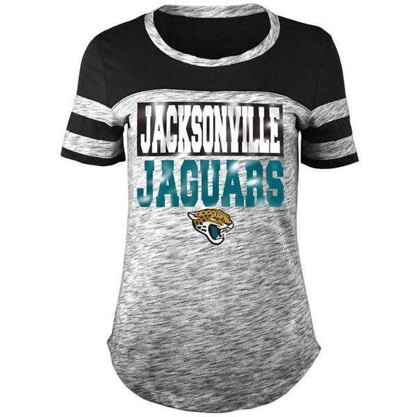 5th & Ocean Women's Jacksonville Jaguars Space Dye Foil T-Shirt ($38) ❤ liked on Polyvore featuring tops, t-shirts, black, nfl shirts, tee-shirt, nfl logo t shirt, initial t shirts and t shirt