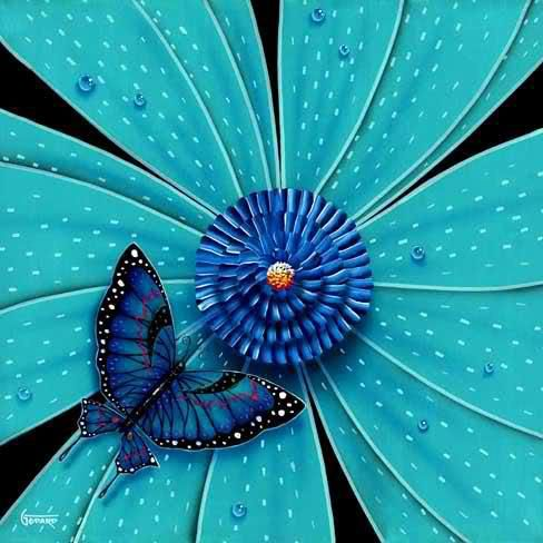 beautiful blue flower and butterfly | FLORES Y MARIPOSAS ...