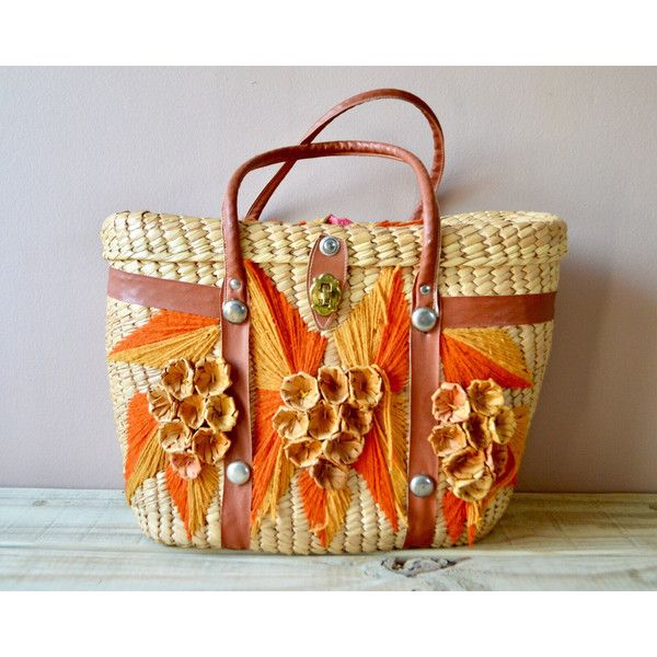 Large Straw Tote with Orange Flower Details, Faux Leather Straps with... ($24) ❤ liked on Polyvore featuring bags, handbags, tote bags, handbags totes, woven beach tote, straw handbags, vintage tote and vintage tote bags