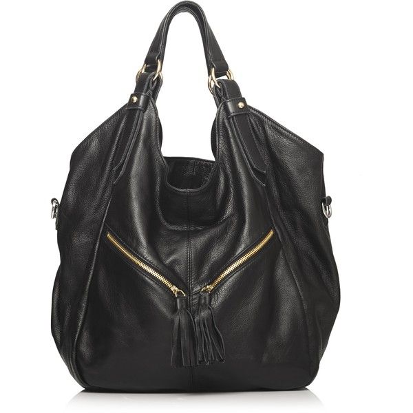 Konstantine Leather Slouch Bag ($200) ❤ liked on Polyvore featuring bags, handbags, shoulder bags, purses, bolsa, sac, black, handbags shoulder bags, real leather handbags and shoulder handbags