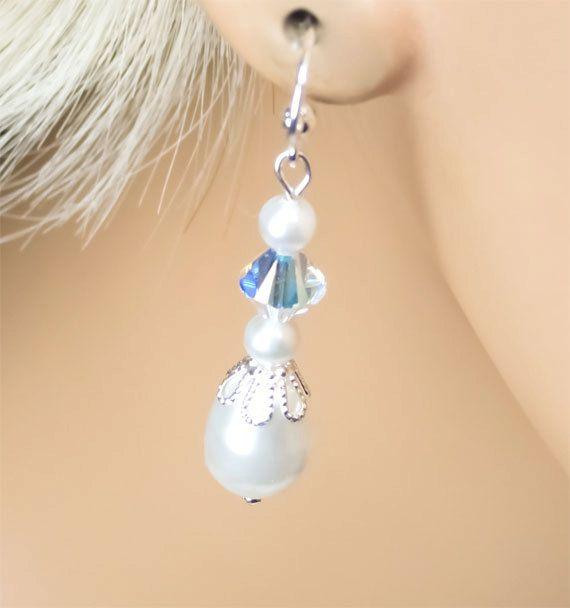 White Pearl Bridal Earrings by PixieDustFineries on Etsy, $27.00