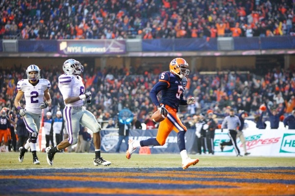 Marcus Sales scores in the 2010 Pinstripe Bowl, Nate Shron