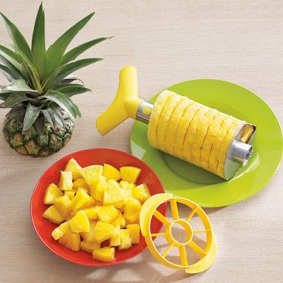 I bought this Stainless-Steel Pineapple Slicer & Dicer at Williams-Sonoma about 3 weeks ago and have eaten 4 pineapples! It's so easy to use. <3