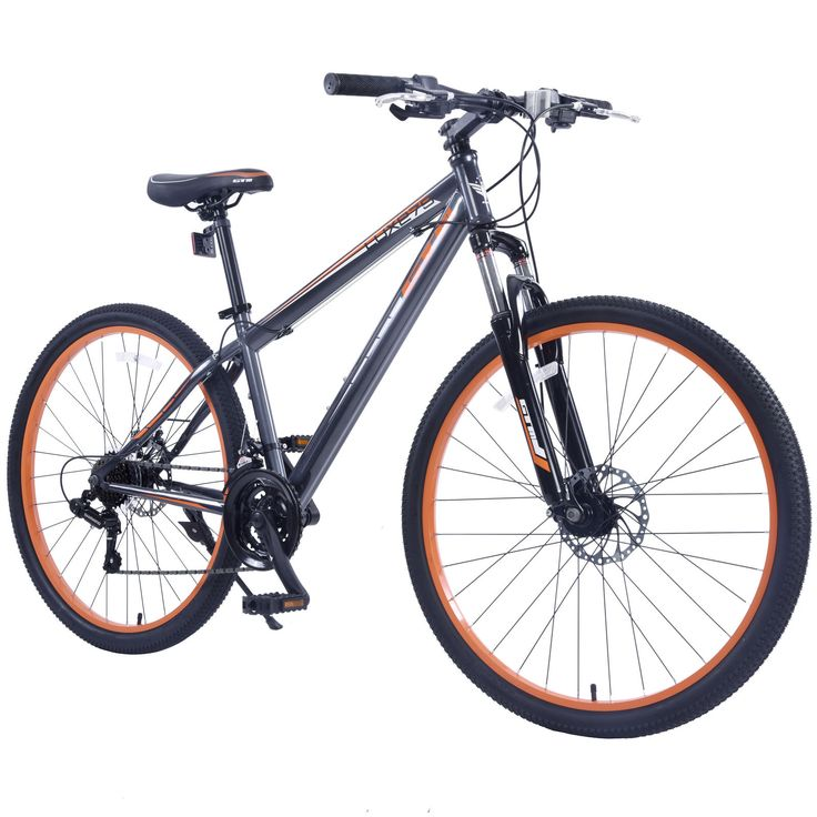 "Seller: Products Universal, Category: Road Bicycles, Price: $149.99, Title: 27.5"" Men's Mountain Bike Shimano Hybrid 21 Speed Bicycle Sports Grey & Orange"