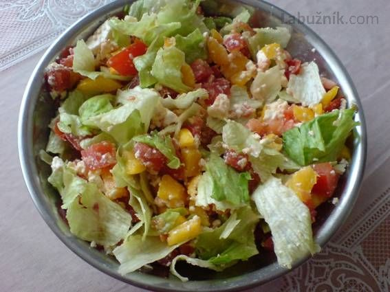 Svěží míchaný zeleninový salát 4 rajčata 2 zelené papriky 1 malý ledový salát zelená nať mladé cibulky  1 stroužek česneku 2 PL nastrouhaného balkánského sýra 2 PL dobrého oleje  slunečnicový sůl, pepř  Zeleninu očistíme, rajčata nakrájíme na kousky, papriku na velmi jemné nudličky, dáme do mísy, opepříme, přidáme strouhaný balkán, olej a rozetřený česnek, zamícháme a dáme na 30 minut do lednice .Natrháme ledový salát na kousky, cibulovou nať na kroužky, lehce vmícháme do salátu a hned…