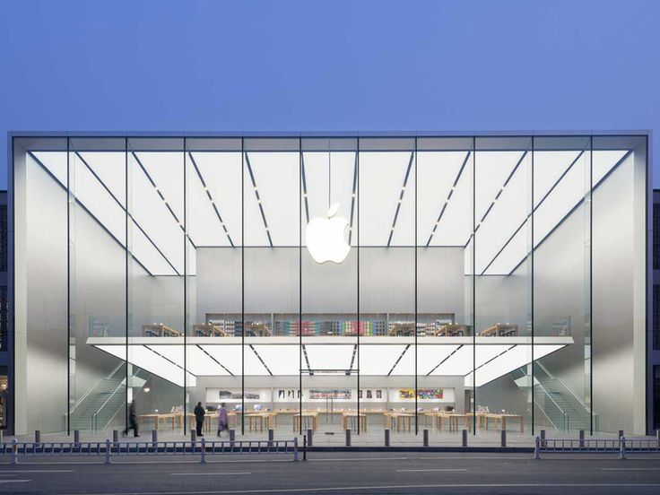 Apple's Newest Store Boasts 50-Foot Glass Walls and a Free-Floating Second Floor | Apple is opening five new stores in China, and this is one of them. Designed by Foster   Partners, it's a 50-foot-tall, starkly minimal glass box.   Foster   Partners  | WIRED.com