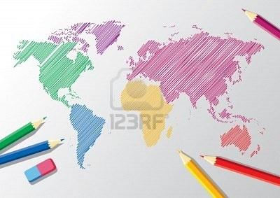 世界地図と鉛筆消しゴムのスケッチ ストックフォト