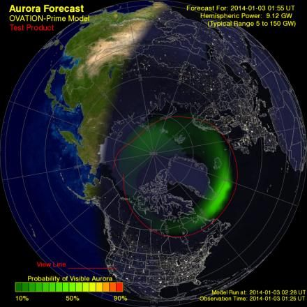 Aurora Borealis Forecast, includes immediate, real time info on Northern Lights viewing, including Aurora Alerts.