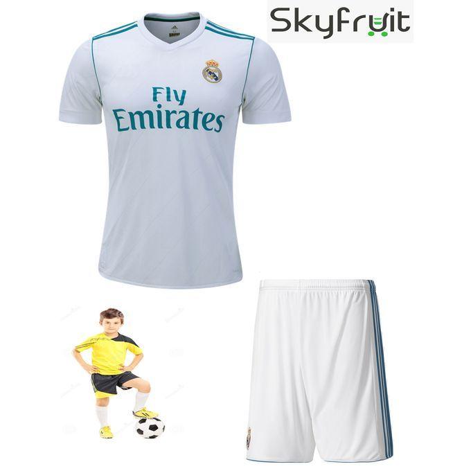new style 319ab 2ecc1 Junior Real Madrid Ronaldo White FootBall Kit   sea view ...