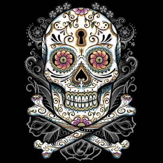 Womans Short Sleeve T Shirt Floral Skull with Bones 18007D2 Overstock Sale
