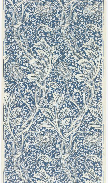"Blue white wallpaper, ""Arcadia"", 1886 - manufacturer: Morris Co., designer: May Morris"