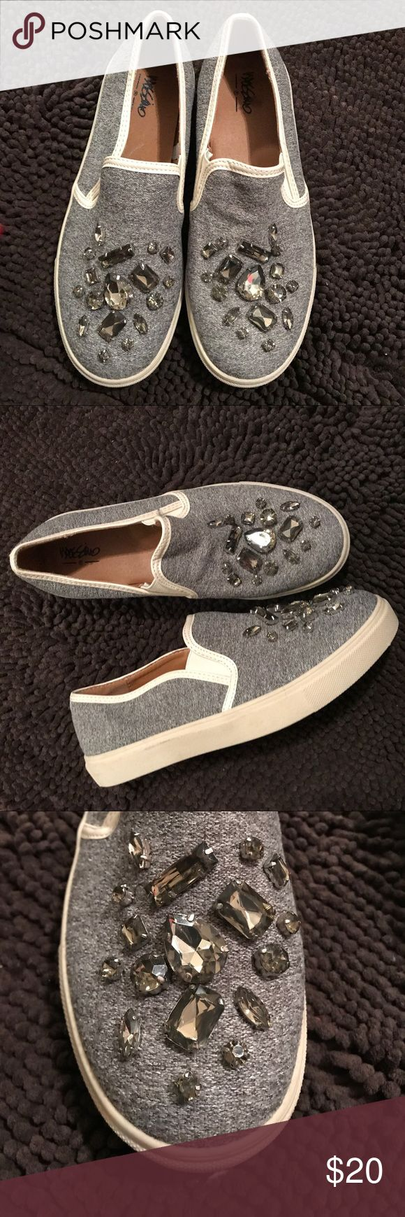 Jeweled Slip on sneaker Barely worn Gray slip on sneakers with jewel details. Perfect for looking effortless chic style on the go Missoni for Target Shoes Sneakers