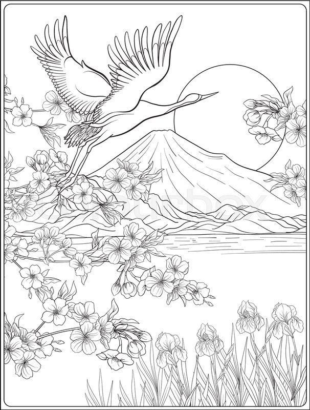 Japanese Landscape With Mount Fuji And Tradition Flowers And A Bird Outline Drawing Coloring Page Coloring Outline Drawings Japanese Landscape Coloring Pages