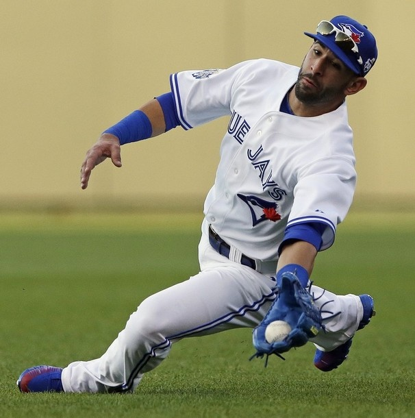 Jose Bautista makes a sliding catch at the MLB 2012 All-Star Game