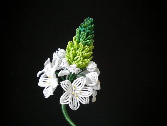 Crafted... wow!... Star-of-Bethlehem - French Beaded Plant via Etsy