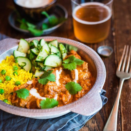 Butter chicken with turmeric pea rice and cucumber mint salad by Nadia Lim | NadiaLim.com